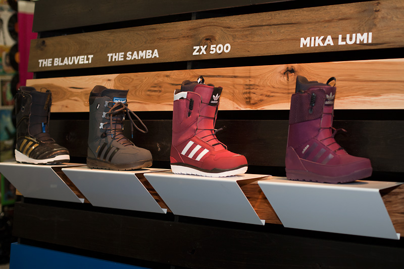 Adidas' new linup of boots, including Jake Blauvelt's signature boot (far left).