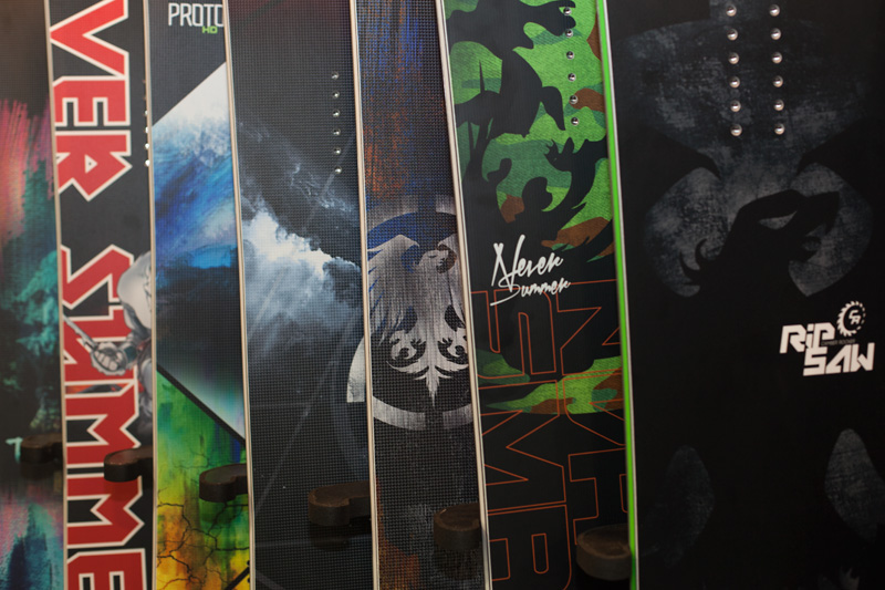 A selection of Never Summer 2014/15 snowboards.