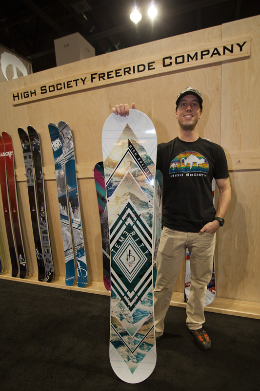 High Society Freeride Company, from Aspen, CO. Their snowboards and skis are made at the Never Summer factory in Denver, CO. This is the Temerity, a Roccker & Camber all-mountain freeride board.