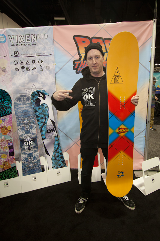 """Jay Quinn, founder and CEO of Smokin' Snowboards with the PowWow, part of their Back to the Woods series. He says this board is for """"Rad Dads."""" I believe him."""