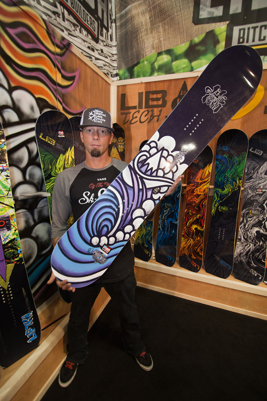 Jamie Lynn with his latest Phoenix series board featuring his own original artwork.