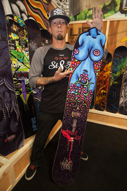 Jamie Lynn with his uniquely shaped Beflower model featuring his own original artwork.